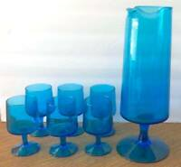 Mid Century Modern Glass Pitcher & Glasses Cocktail Set Blue Blown Glass