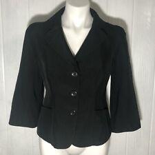 Ann Taylor Women's Black Blazer 3/4 Sleeves Fitted Waist 3 Button Size 2