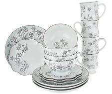 Temp-tations Metallic Winter Holidays Christmas Plates 16pc Dinnerware Set *NEW*