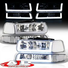Chrom Clear Corner Led Drl Bumper Head Lights Lamp Lh+Rh For 1999-2002 Silverado