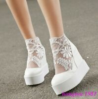 Roman Womens Mesh Lace Floral Platform Wedge Hidden Heels Creeper Shoes Sneakers
