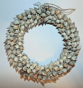 "8"" REAL BROWN CHULA SEA SHELL WREATH, NAUTICAL BEACH DECOR TROPICAL"