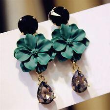 Big Fashion Jewelry Crystal For Women Dangle Drop Green Flower Earrings