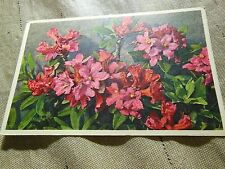 RARE VINTAGE RHODODENDRON FERRUGINEUM POST CARD PRINTED IN SWITZERLAND