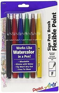 PENTEL ARTS Sign Pen with Brush Tip, Assorted Colors, Pack of 6