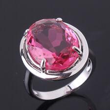 HUCHE Lovely Pink Sapphire Rhinestone Gems Silver Women Lady Wedding Party Rings