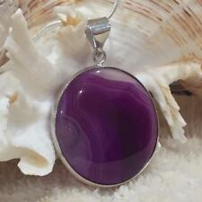 3.2cm Purple Agate Coin Necklace Gemstone Coin Pendant One of a Kind 8778