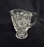 Vintage Crystal Creamer Etched Cut Glass Clear Floral Design