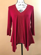 Adrianna Papell Women's Red V-Neck 3/4 Sleeve Shirt Top Size Medium