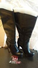 Just Fab Sarika Knee High Black Heel Boots size 7 very Elegant.