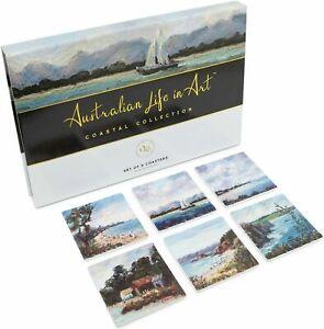 6 Ceramic Drink Coasters Beach Coastal Original Gift Box AUS Designed Quality