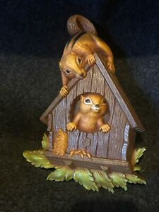 Vintage 1977 Homco Wall Plaque Plastic Squirrel Chipmunk in Bird House