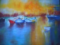 """Original oil painting, signed by Nalan Laluk: """"Quiet Harbor"""""""