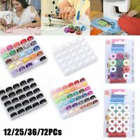 72PCs Sewing Thread Set with Plastic Bobbins Sewing Machine Spools Case HOOT