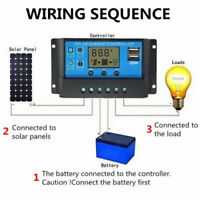 10-30A Solar Charge Controller Battery Regulator 12V/24V Auto Dual USB PV 50V SE