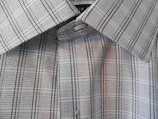 VanHeusen Long Sleeve Shirt Black / White Window Pane Print - 15-15 1/2 32/33