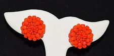 Vintage Vogue Jewelry Red Glass Flower Cluster Clip Earrings ~ FREE Shipping USA