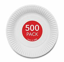 """Stock Your Home Disposable White 9"""" Paper Plates Uncoated, Everyday, 500 Count"""