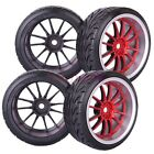 3mm Offset 4PCS RC 1/10 On-Road Drift Car Tyre Tires & Wheel Rim Red 9048-9015