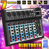 bluetooth 7 Channel Live Studio Stereo Audio Mixer Sound Mixing DJ USB Console