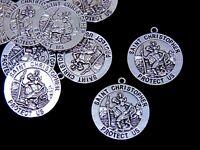 5 Pcs - 33mm Tibetan Silver Saint St Christopher 3d Medallion Charm Pendant F5