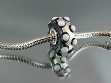 SINGLE SILVER CORE MURANO GLASS BEAD FOR EURO STYLE CHARM BRACELETS  (#MB 166)