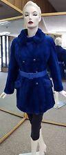 "Royal Blue 32"" Sheared Rex Rabbit Fur Jacket - Size 8"