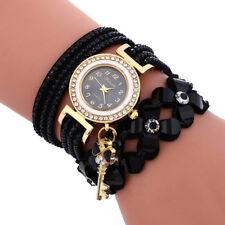 Women's Watch Bracelet Crystal Leather Dress Analog Quartz Wrist Watches Fashion
