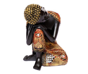 Thai Buddha Figur Schlafend Ruhender Buddha Meditierend Dekofigur Feng Shui Neu