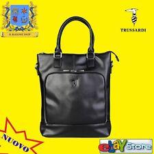 TRUSSARDI JEANS Borsa donna comoda trendy tracolla foderata fashion Nero Black .