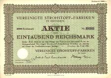 Aktie Vereinigte Strohstoff-Fabriken 1000 RM 1932 Dresden