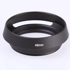 Black Metal 49mm Curved Vented Lens Hood for Leica 49 mm Thread DSLR Camera Lens