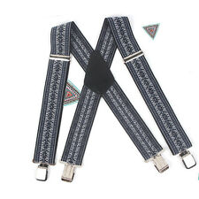 50mm Men/Women Elastic straps X-Back Trousers Adjustable Brace Suspenders  Gary