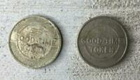 2 Vintage Good Time Tokens Coins Fun For All