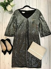 Monsoon Size 14 silver sequin party dress show stopper shift fluted sleeves