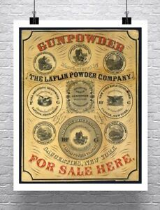 Gunpowder 1850 Antique Firearm Advertising Poster Rolled Canvas Giclee 24x30 in.
