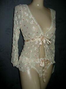 Claire Pettibone Luxury Lingerie Jacket Ivory Eyelet Lace S + Thong M LOLA New