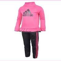 Adidas Little Girls Sweatshirt & 3 stripe Jogger Track Suit Set