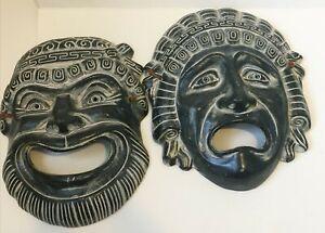 Vintage Greek Pottery Theatre Mask Set Comedy / Tragedy Greece Wall Mask