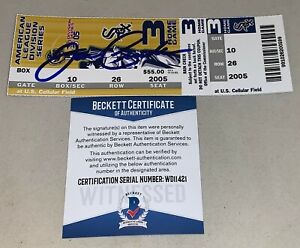 Joe Crede Chicago White Sox signed 2005 ALDS Game 3 Ticket autographed Beckett