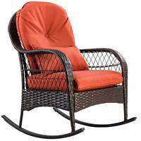 Patio Rattan Wicker Rocking Chair Porch Deck Rocker Outdoor Home W/ Cushion