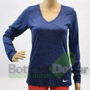 Nike Dry 858415-451 Women's Dri-Fit Legend Long Sleeve Training Shirts Navy
