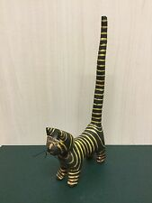 Unusual Cat With a Long Tail - Wooden Painted Cat Sculpture / Ornament / Figure
