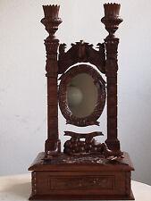 antiker Tischsspiegel, Jagd Spiegel, Verzierungen, Tiere, Hund, Schlange, mirror