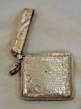 Antique English Sterling Silver Match Safe or Vesta Case with Center Flower