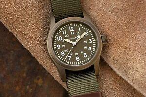 NEW HAMILTON KHAKI FIELD MECHANICAL 38MM GREEN NATO 80 HOUR EARTH PVD H69449961