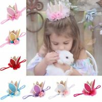 Glitter Hair Band Rabbit Bunny Ears Kids Baby Headband Flower Crown