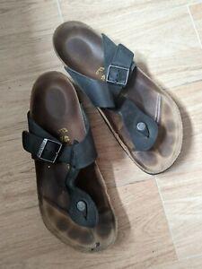 Birkenstock Gizeh Leather Thong Sandal Leather Men's US Size 45/12 Black