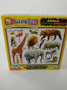 PuzzleBUG Learning Animals (English, Spanish & French) 24 Pieces Puzzle - NEW