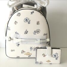 Coach Jordyn Backpack Wallet Set Dandelion Floral Canvas Chalk Leather NWT $566
